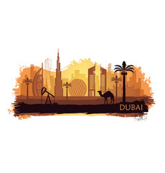 stylized kyline of dubai with camel and date palm vector image
