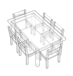 table with chairs rendering 3d vector image
