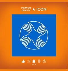 Teamwork hands logo human connection line icon vector