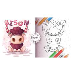 Teddy bison animal coloring book vector
