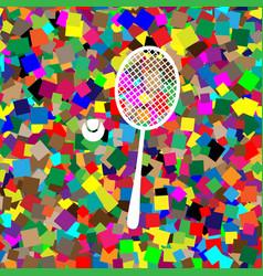 Tennis racquet with ball sign white icon vector