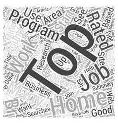 Top work at home jobs word cloud concept vector