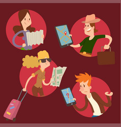 Traveler people searching right direction on map vector