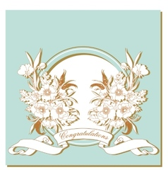 Vintage card with flowers around the frame vector