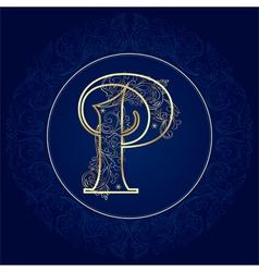 Vintage floral alphabet letter P vector