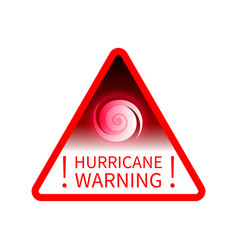 warning sign informing about hurricane vector image