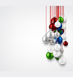 white background with colorful christmas balls vector image