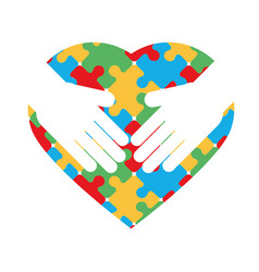 World autism day hands with puzzles shaped heart vector