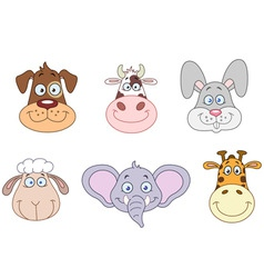 animal heads 2 vector image vector image