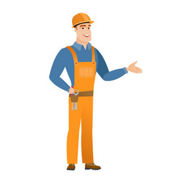 caucasian builder with tool belt vector image