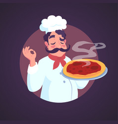 chef of italian appearance and steaming pizza vector image