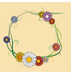 frame made of spring flowers vector image