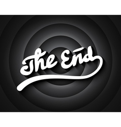 Old movie ending screen with b w gradient circles vector image
