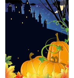 Pumpkins near the old haunted castle vector image vector image