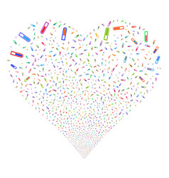 test tube fireworks heart vector image vector image