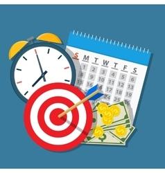 Alarm clock calendar target money vector