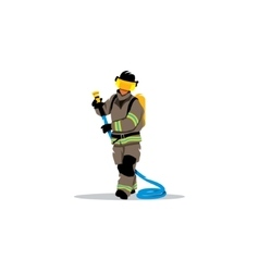 Firefighter with a hose sign vector image