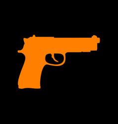 gun sign orange icon on black vector image