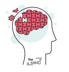 mind puzzle jigsaw problem brain vector image