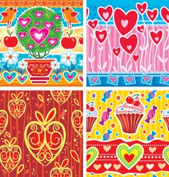 set of pattern with hearts vector image vector image