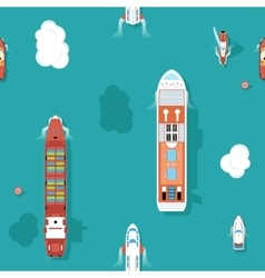 Top view sea ships seamless background vector image