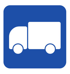 blue white information sign - lorry car icon vector image vector image