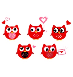 Cute owls for Valentines day isolated on white vector image vector image