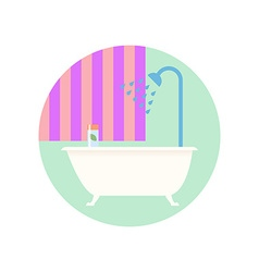 Flat Design Bathroom with Bath Icon vector image vector image