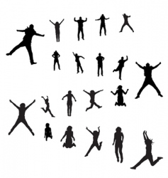 jumping peoples vector image vector image