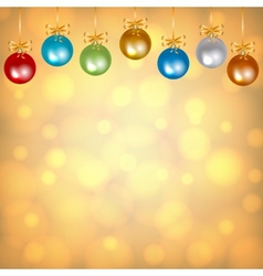 colorful baubles on golden background vector image vector image