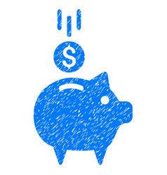 deposit piggy bank icon grunge watermark vector image