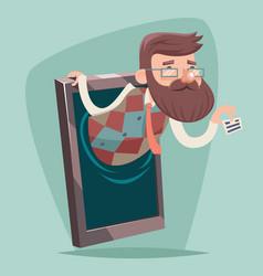 geek hipster businessman agent online mobile phone vector image vector image