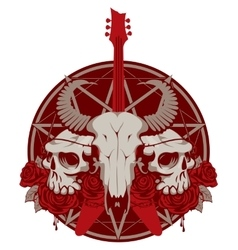 Guitar and skull of goat and human vector