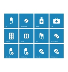 Pills and capsules icons on blue background vector image