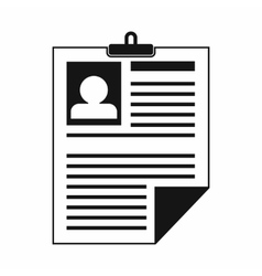 Resume icon in simple style vector image vector image