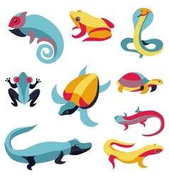 set of logo design elements - reptiles vector image vector image