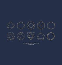 set of modern geometric framework for text of gold vector image
