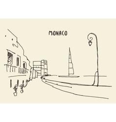 Sketch of streets in Monaco drawn vector image