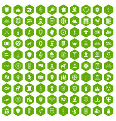 100 shield icons hexagon green vector
