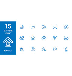 15 family icons vector