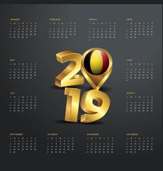 2019 calendar template golden typography with vector