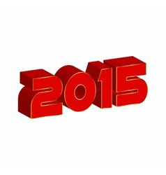 3d text 2015 happy new year vector
