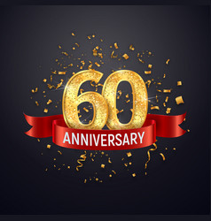 60 years anniversary logo template on dark vector image
