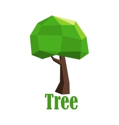 Abstract polygonal tree icon with green crown vector image