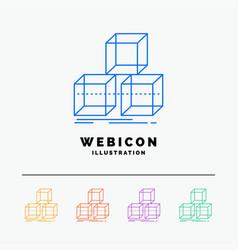 Arrange design stack 3d box 5 color line web icon vector
