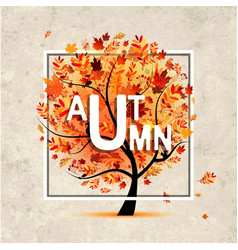 Autumn tree banner on grunge paper for your vector