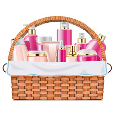 Basket with skin grooming products vector