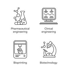 Bioengineering linear icons set pharmaceutical vector