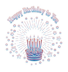 birthday cake and stars card template vector image