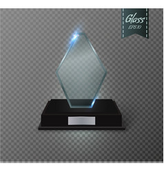 Blank glass trophy award on a transparent vector